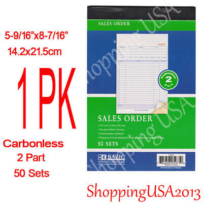 1 X 2 Part Carbonless Receipt Invoice Sales Order Book 50 Set Forms Continuous**