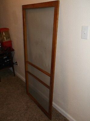 Antique Vintage Brown Wooden Screen Door Architectural Decor