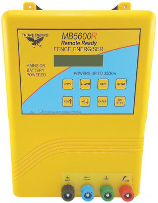 350km Mains & Battery Electric Fence Energiser Charger Thunderbird Solar MB5600R