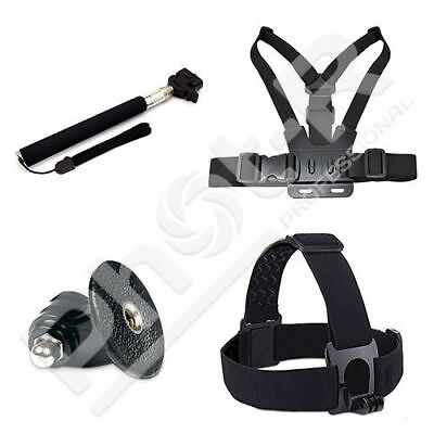 PhotR Accessories Chest Head Strap Monopod and Adapter Kit for GoPro Hero 5 4 3+