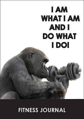 Fitness journal workout tracker gym diary 'i am what i am'gorilla A5 size