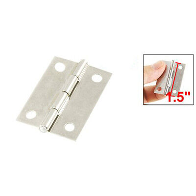 """2 Pcs Silver Cabinet Drawer Door Stainless Steel Butt Hinges 1.5"""" Length FP"""