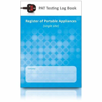 PAT Test Log Book & Register of Portable Appliances (Single Site) & Certificate