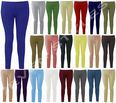 New Womens Ladies Plain Stretchy Full Ankle Length Leggings Plus Size 8-26