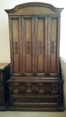 Antique Wood Armoire Living Room Bedroom Furniture
