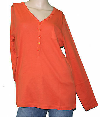 56//58 wunderschönes Basic Shirt Langarm Knopfleiste terra-orange Sheego Gr