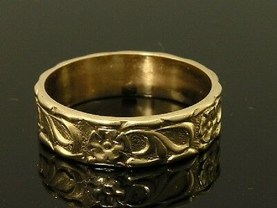 R031- Lovely Genuine 9ct SOLID Yellow Gold Blossom Embossed Wedding BAND Ring