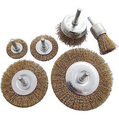 "6pc BRASS WIRE WHEEL END & CUP BRUSH SET 1/4"" shank for rotary tools and drills"
