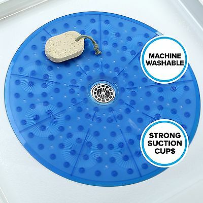 "Round Shower Mat (23"" Diameter) in Blue by SlipX Solutions"