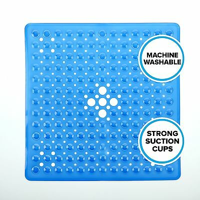 "Square Shower Mat (21""W x 21""L) in Blue by SlipX Solutions"