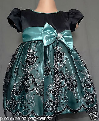 Green Black Silver Sparkly Flower Girl Party Wedding Pageant Dress 0-24m Xmas