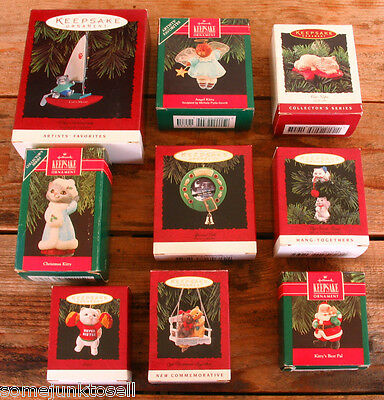 Lot of 9 Assorted Hallmark Keepsake Kitten Cat Christmas Ornaments New In Box