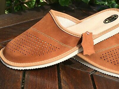 New Leather Mens Black Brown Grey Slipppers Mule  Flip Flop Sandals Home
