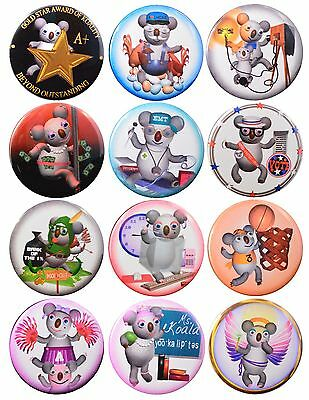 Pack-12 Funny Koala Collection Pinback Buttons #6