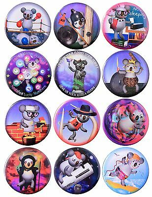 Pack-12 Funny Koala  Pinback Button Collection #7 by Valxart