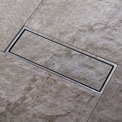 30*10 cmTile Insert Linear Shower Floor Drain Wetroom Grate, 2inch Outlet Pipe