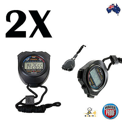 2X Stopwatch Handheld Digital LCD Chronograph Sports Counter Timer Stop Watch