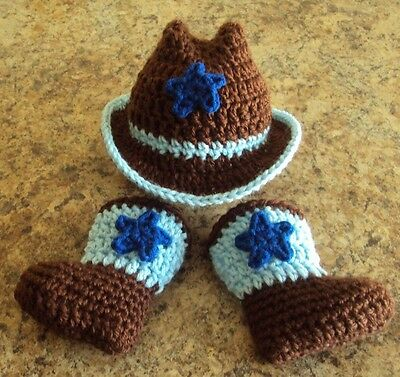 Hand Crochet Baby Boy or Girl Cowboy Hat & Boots Set ~ Booties, Stars (one set)
