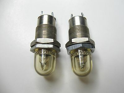 2pc Vintage Dialight Dialco ? Panel Mount Indicator Pilot Lights Steampunk
