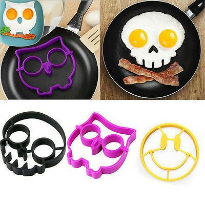 Silicone Smile Skull Owl Egg Fried Mould Molds Shaper Poucher Pancake Rings Tool