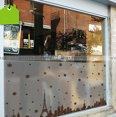 Eiffel Tower Frosted Window Film Privacy Bedroom Bathroom Office Glass Decor GTS