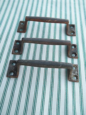 "3 Matching Heavy Grade Unpolished Brass 4 1/8"" Drawer Handles / Pulls, Free S/H"