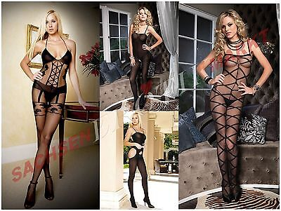 Catsuit Bodysuit Body Overall Ouvert offen Stockings Nylon Dessous Reizwäsche