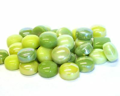 50 Lime Green Optic Drops Mix Recycled Glass Gems Round Shaped Mosaic Tiles