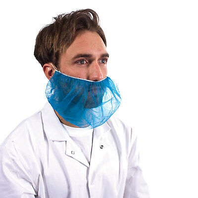Blue Disposable Beard Snood Covers Cover Catering Food Beard Mask Hygiene x 100