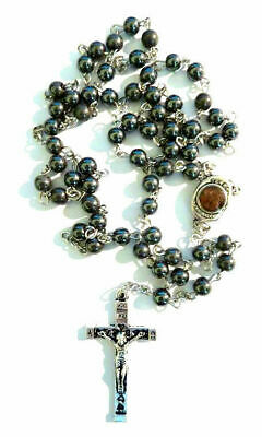 Hemetite Stone Rosary Beads From The Holy Sepulchre With Soil From Jerusalem