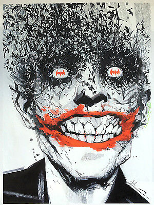 24x36 Joker Batman Ledger DC Comics REAL oil painting on canvas hand not printed