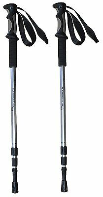 Two - Durable Anti Shock Aluminum Hiking Pole Walking Stick Silver