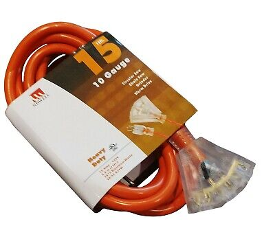 50-Ft Extension Cord 10 Gauge Lit End AWG Heavy Duty UL NEW 10/3 Foot Feet