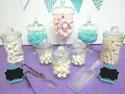 8 SET APOTHECARY Candy Lolly Buffet Glass Jars Wedding Party Tongs & Scoops