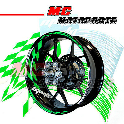 "Racing Vert Fluorescent Jante Stripes Stickers Decal GP#1 Pr Roue 17"" Moto"