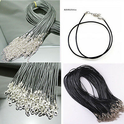 CA Hot 5 Pcs PU Leather Chains Necklace Charms Findings String Cord 1.5 mm DI