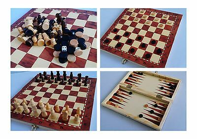 "3-In-1 chess checker backgammon 9.7"" board game set, wooden chess pieces"