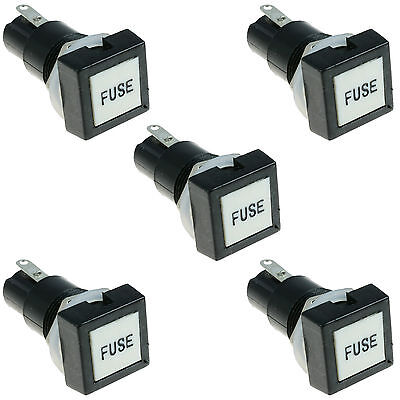 5 x Panel Mount Chassis Square Head Fuse Holder for 5x20mm Glass Fuses 10A 250V