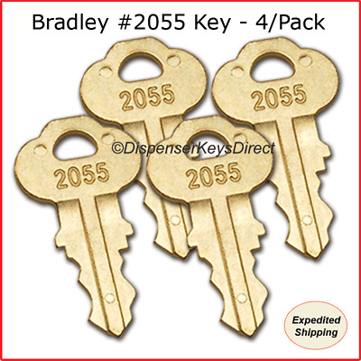Bradley #2055 Key for Paper Towel, Toilet Tissue & Liquid Soap Disp.  - (4/pk.)