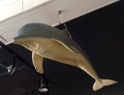 Rare Unique 1950's Large Hanging Figural Dolphin Display Restaurant Decor