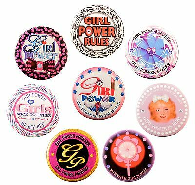 Pack of 8 Girl Power Magnet + 8 Pinback Buttons by Valxart