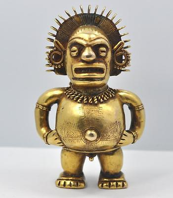 Antique Pre Columbian Men, Idol, God /10KT Solid Yellow Gold Deity Effigy Figure