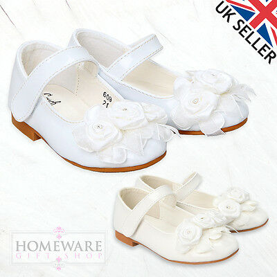 Girls Bridal Shoes Bridesmaid, Weddings White Ivory Patent Special Occasion Shoe