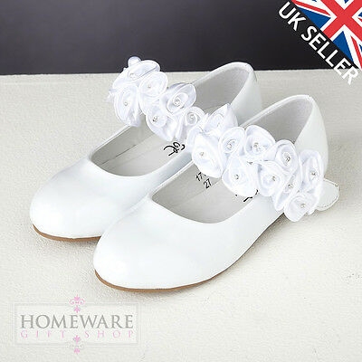 Girls Shoes Bridesmaid, First Holy Communion, Weddings Bridal White Patent Shoes