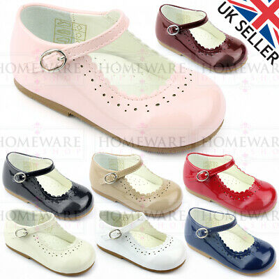 Baby Girls Spanish Style Patent Shoes Mary Jane Pink White Camel Red Navy Uk 1-8