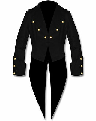 Handmade Black Cotton Mens Tailcoat Steampunk Goth Victorian Swallowtail Jacket