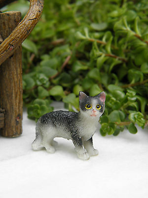 Miniature Dollhouse FAIRY GARDEN Accessories ~ Small Standing Black & White Cat