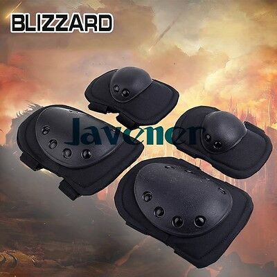 A Set  BLACK Tactical Paintball Airsoft Protection Knee Elbow Pads CLEARANCE!