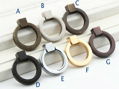 Cabinet Drawer Pull Drop Ring Gold Silver Chrome Nickel Black Oil Rubbed Bronze