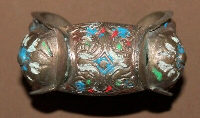 Antique Greek bronze crusader fertility bracelet with cross